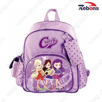 Purple Satin Lovely Backpack School Bags for Teenage Girls