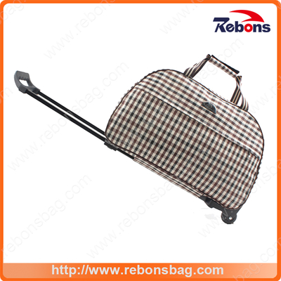Branded Laptop Plaid Trolley Bag Wheeled School Trolley Bags with Customized Logo
