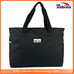 Personalized Classic Good Quality Black Ladies Non Woven Shopping Tote Hand Bag