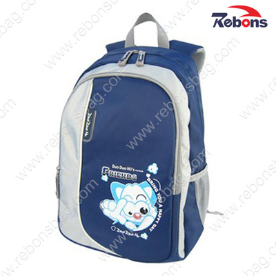 Navy Polyester Fabric Teen Children Boy Backpack School Bags