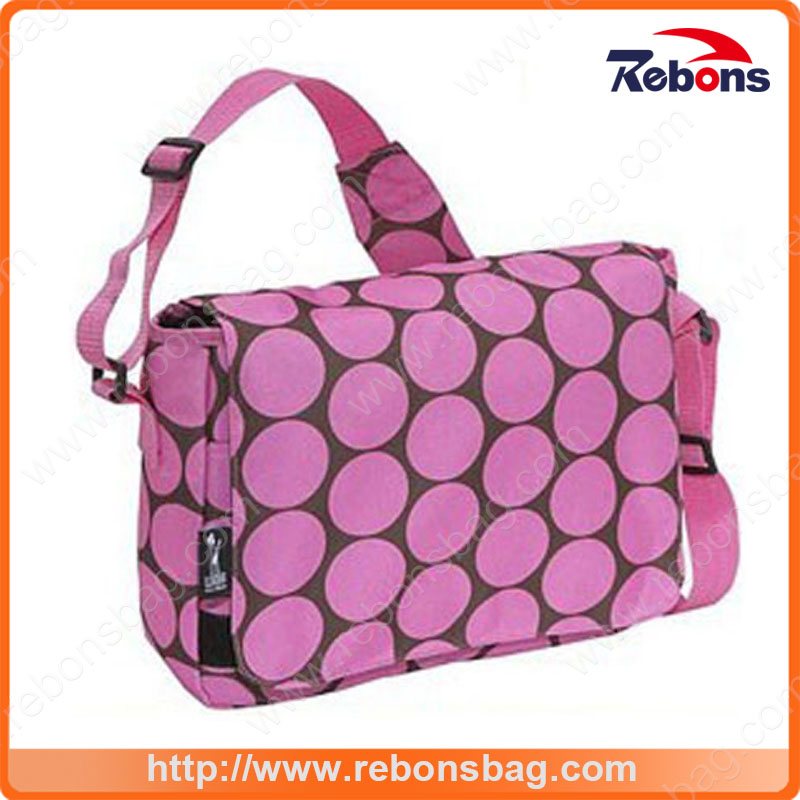 fashion Pink Spotted Allover Silk Creen Shoulder Bag with a Adjustable Shoulder Strap