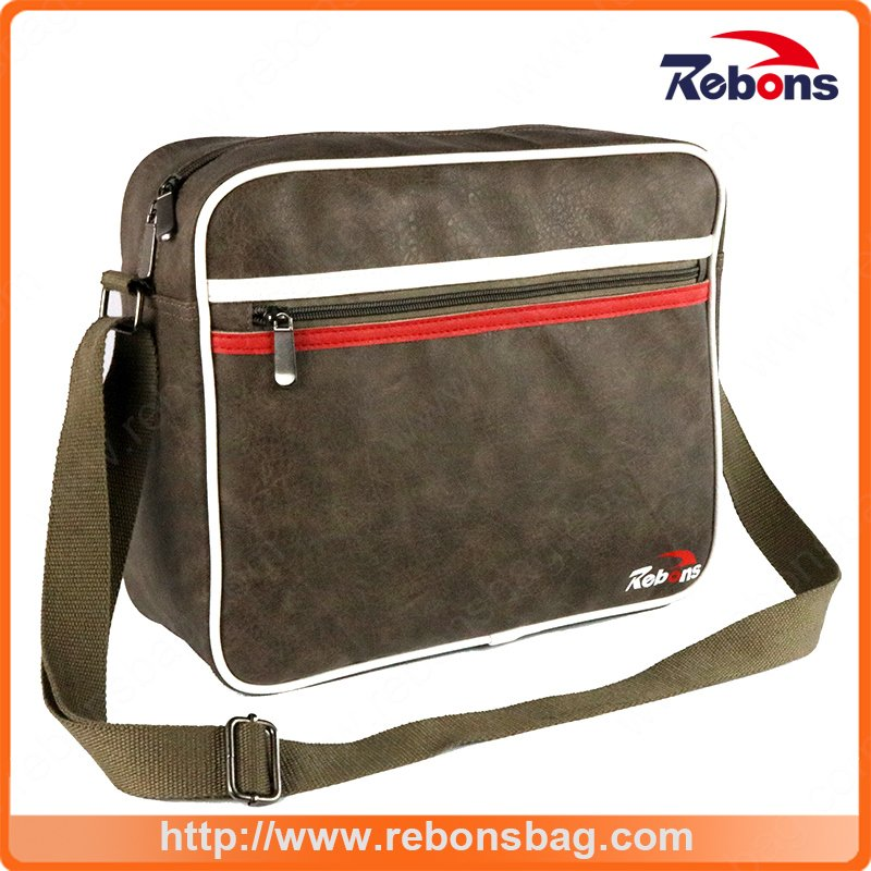 Men′s Promotional Tool Leather Messenger Shoulder Bag for Business School and Office