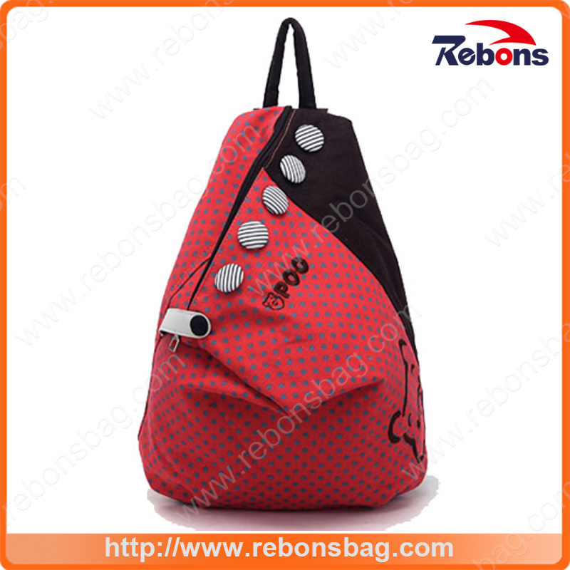Traingle Spotted Canvas Fashionable Backpack with Big Colorful Buttons