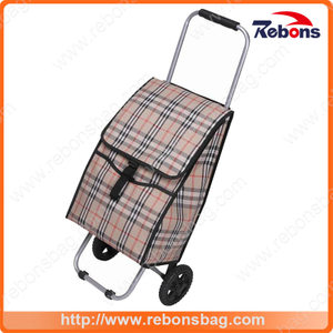 Top Quality Plaid Foldable Shopping Cart Supermarket Children Shopping Cart